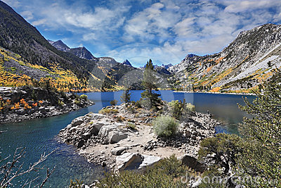 Azure lake in the autumn mountains
