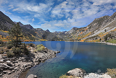 Azure lake in mountains