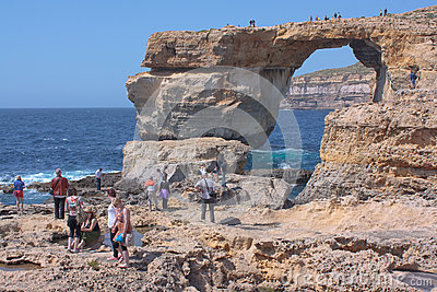 Azure window Gozo with crowds Editorial Photo