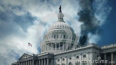 Bâtiment de tabagisme de capitol des USA - guerre, concept de terrorisme clips vidéos