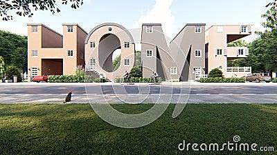 Bâtiments en forme de mot Home illustration de vecteur