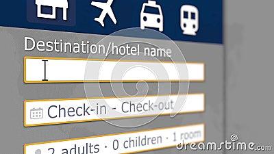 Búsqueda en línea del hotel en Helsinki en algún sitio de reservación Viaje a la animación conceptual 3D de Finlandia almacen de video