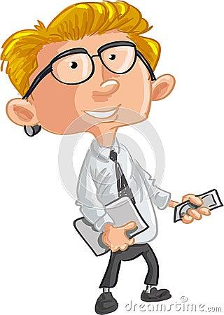 Büroangestellter mit Handy und Laptop