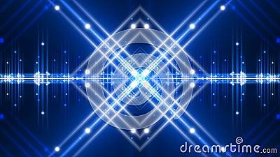 Błękitny abstrakcjonistyczny tło, rozblaskowy światło i ruchów kształty, pętla ilustracji