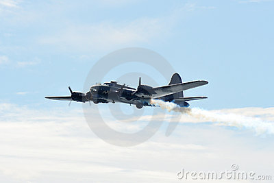 B-17 flying fortress on fire