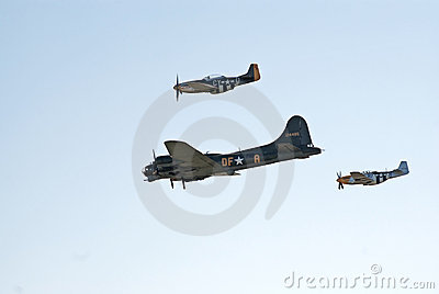 B-17 and two P-51 s fly in formation Editorial Image