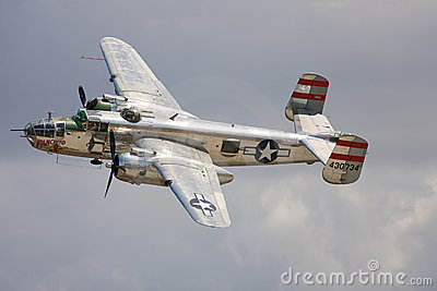 A B-25 Mitchell bomber in flight Editorial Stock Image