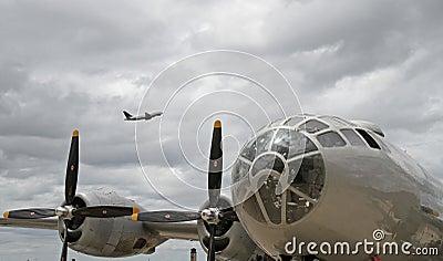 B-29 Bomber with Modern Passenger Jet Overhead