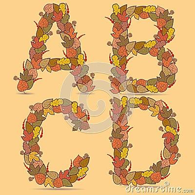 A,B,C,D Vector colorful font.