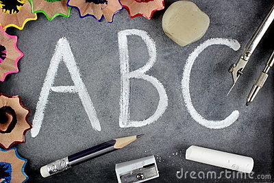 A B C letters and school stuff on blackboard