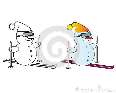 B&W and Colored Snowmen