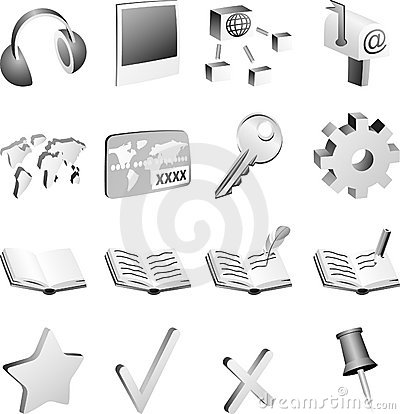 B&w icon set.