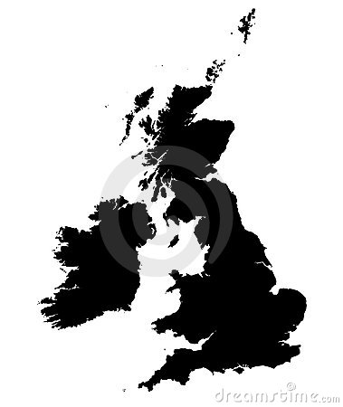 B/W map of United Kingdom