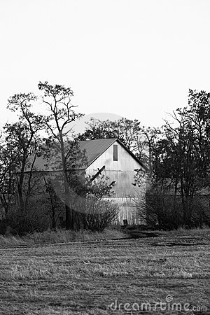 B&W of old barn.