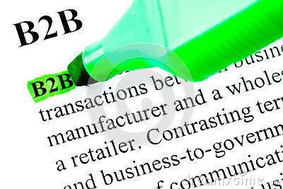 B2B definition highlighted in green