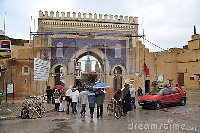 Bab Boujeloud Gate in Fes, Morocco Editorial Photography