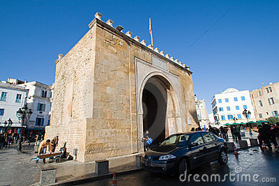 Bab el Bhar (Porte de  France or Sea Gate) Editorial Stock Photo