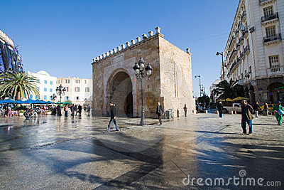 Bab el Bhar (Porte de  France or Sea Gate) Editorial Photo