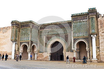 Bab el-Mansour Gate in Meknes, Morocco Editorial Stock Photo
