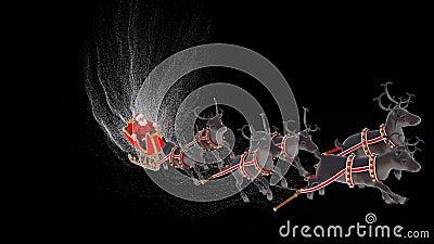 Babbo Natale sulla slitta con renna natalizia Animazione con canale alfa archivi video