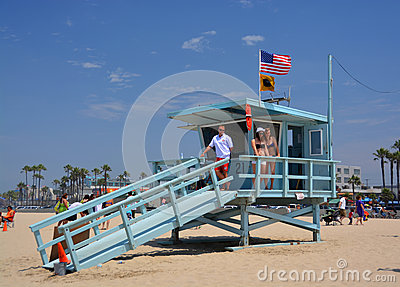Babe Watch at the Life Guard Hut at Venice Beach Editorial Image