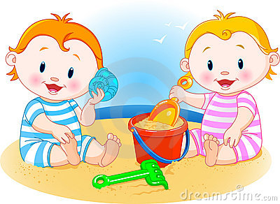 Babies at the beach