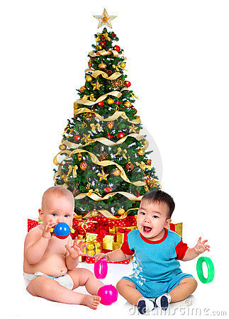 Babies and a Christmas Tree