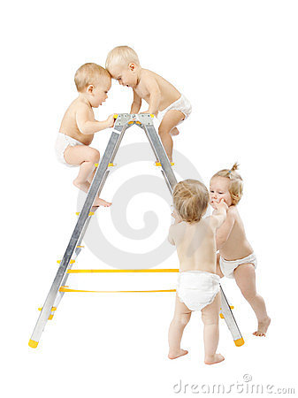 Babies climbing on stepladder, Competition