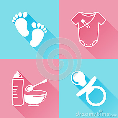 Babies colorful flat icons