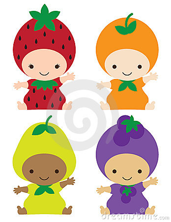 Babies in Fruit Costumes