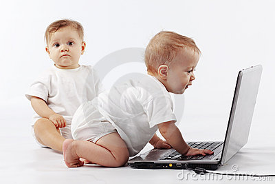 Babies with laptop