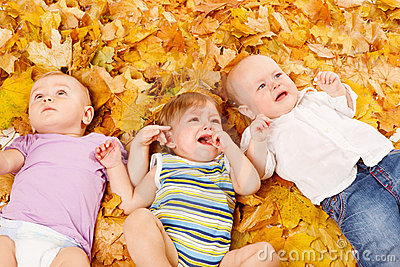 Babies lie on leaves