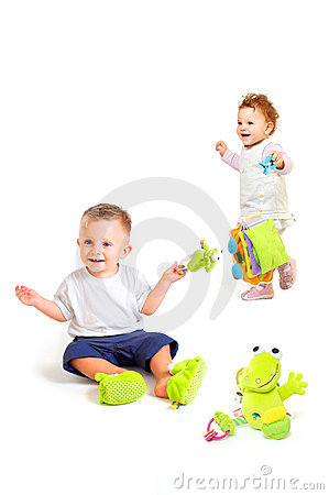 Babies play with toys