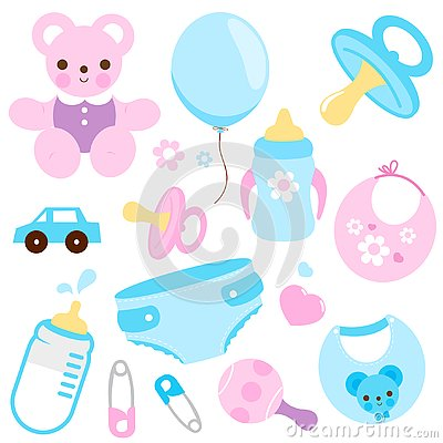 Free Baby Accessories In Blue And Pink Colors. Vector Collection Royalty Free Stock Photos - 131044418