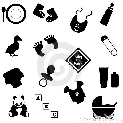 Free Baby Accessories In Silhouette Stock Images - 14970984