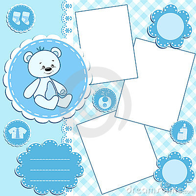 Baby album page. Blue.
