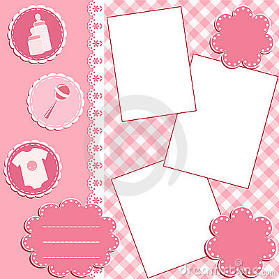 Baby album page. Pink.
