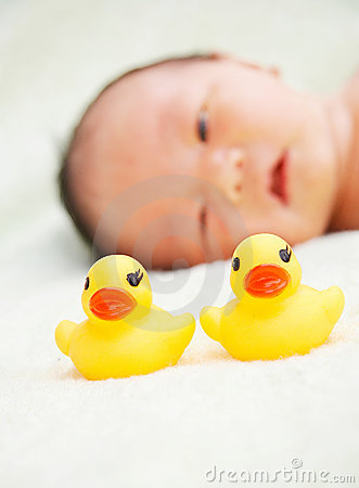 Free Baby And Duck Toys Royalty Free Stock Photo - 4920065