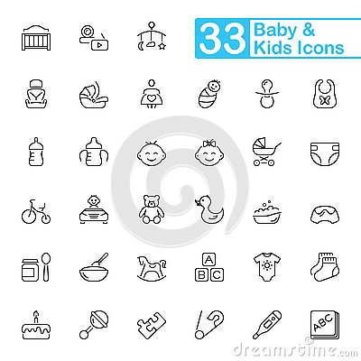 Free Baby And Kids Outline Icons. Royalty Free Stock Photo - 136816685
