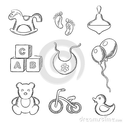 Free Baby And Toys Sketched Icons Set Stock Photography - 63760292