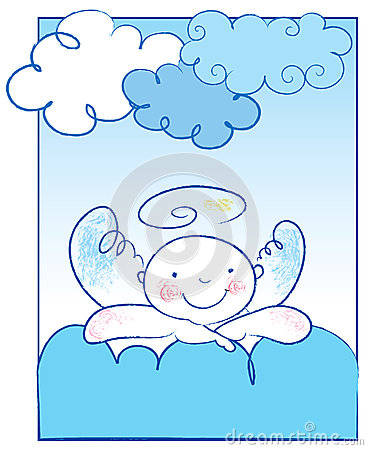 Baby angel leans on a cloud