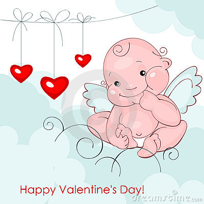 Baby angel with three hearts