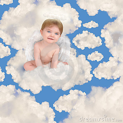 Baby Angel with Wings Sitting in Clouds