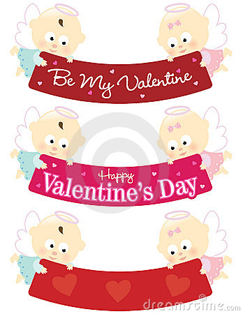 Baby angels holding Valentine banners isolated set