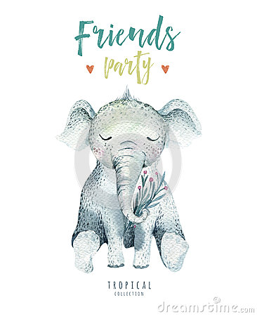 Free Baby Animals Nursery Isolated Illustration For Children. Watercolor Boho Tropical Drawing, Child Cute Tropic Elephant Stock Photos - 91736553