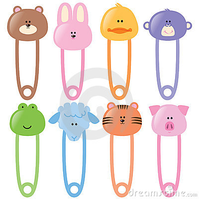 Free Baby Animamls Safety Pins Set 1 Stock Photo - 8969750