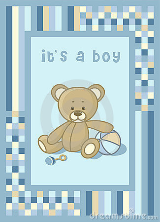 Baby announcement card with teddy bear
