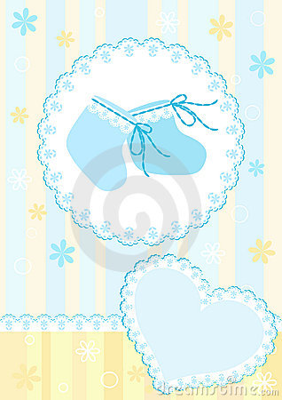Baby Arrival Card. Blue. Stock Photo - Image: 14936720