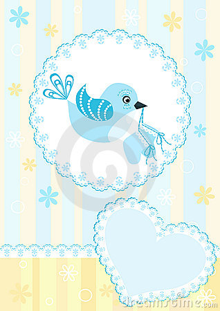 Baby arrival card. Blue bird.