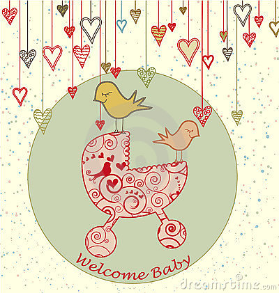 Free Baby Arrival Card With Birds And Stroller Stock Photo - 14652770